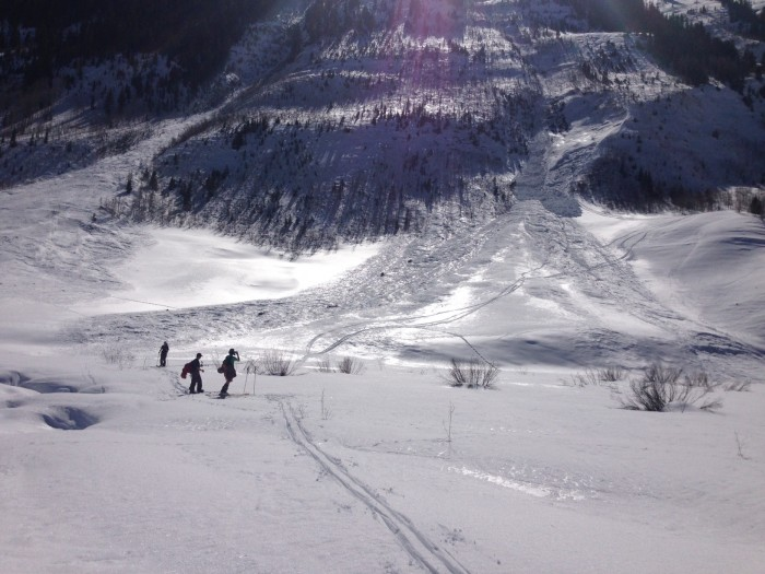 Skier triggered wetslab in Climax Chutes near Slate River