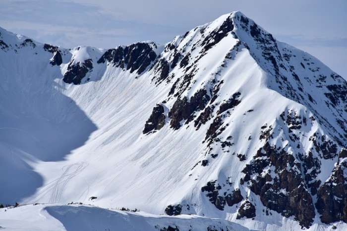S/SE face of purple peak, with small loose wet avalanches that ran naturally 3/10.